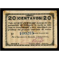 Medellin, Colombia, Departamento de Antioquia, 20 centavos, 1901, series X, serial 100215.