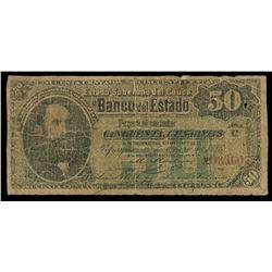 Popayan, Colombia, Banco del Estado, 50 centavos, 2-2-1886, series C, serial 033602.