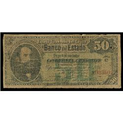 Popayan, Colombia, Banco del Estado, 50 centavos, 2-2-1886, series C, serial 033602.