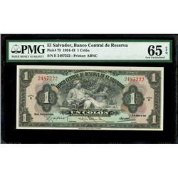 El Salvador, Banco Central de Reserva, 1 colon, 14-1-1943, series E, serial 2487222, PMG Gem UNC 65
