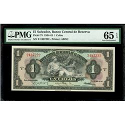 El Salvador, Banco Central de Reserva, 1 colon, 14-1-1943, series E, serial 2487222, PMG Gem UNC 65
