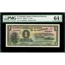 El Salvador, Banco Central de Reserva, 1 colon, 6-11-1952, series VA, serial 3626359, PMG Gem UNC 64