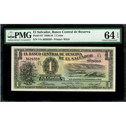 El Salvador, Banco Central de Reserva, 1 colon, 6-11-1952, series VA, serial 3626359, PMG Gem UNC 64