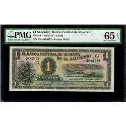 El Salvador, Banco Central de Reserva, 1 colon, 17-3-1954, series UA, serial 4829573, PMG Gem UNC 65