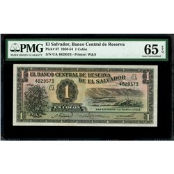 El Salvador, Banco Central de Reserva, 1 colon, 17-3-1954, series UA, serial 4829573, PMG Gem UNC 65