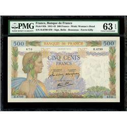 France (Paris), Banque de France, 500 francs, 1-10-1942, serial H.6799 670, PMG Choice UNC 63 EPQ.