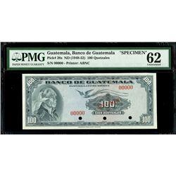 Guatemala, Banco de Guatemala, 100 quetzales specimen, no date (1948-52), PMG UNC 62.
