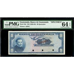 Guatemala, Banco de Guatemala, 20 quetzales specimen, no date (1963-65), PMG Choice UNC 64 EPQ.