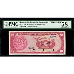 Guatemala, Banco de Guatemala, 10 quetzales specimen, no date (1948-55), PMG Choice AU 58.
