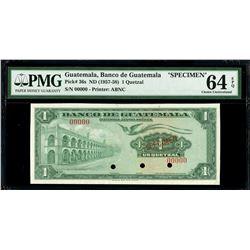Guatemala, Banco de Guatemala, 1 quetzal specimen, no date (1957-58), PMG Gem UNC 64 EPQ.
