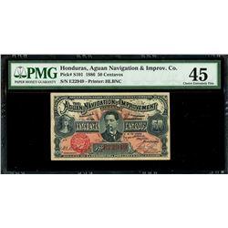 Trujillo, Honduras, Aguan Navigation and Improvement Company, 50 centavos, 25-6-1886, serial E22949,