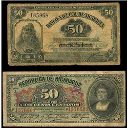 Lot of two Nicaragua 50 centavos notes: Republica de Nicaragua, 1-1-1910, series A, serial 1576501;