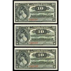 Lot of three Nicaragua, Banco Nacional, 10 centavos, series of 1938, consecutive serials 540188-90.