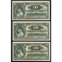 Lot of three Nicaragua, Banco Nacional, 10 centavos, series of 1938, consecutive serials 540188-90.