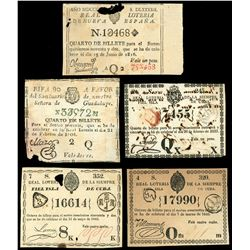 Lot of sixteen lottery tickets from Cuba and Mexico, various dates from 1805 to 1842.