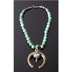 Navajo Sand Cast Carico Lake Turquoise Necklace