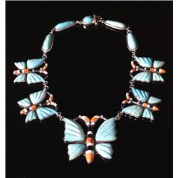 Navajo Opal & Turquoise Inlaid Butterfly Necklace