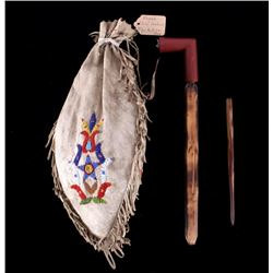 Osage Beaded Pipe & Bag - Chief Lookout 19th-20th
