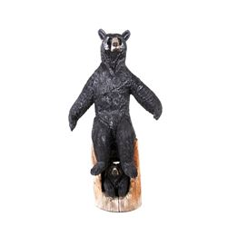 Large Montana Chainsaw Carved Black Bear Statue