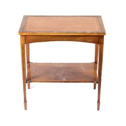 Early Quarter Sawn Mahogany Leather Top Side Table