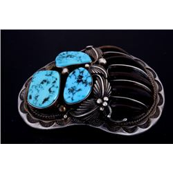 Navajo S.S. Badger Claw Turquoise Pendant