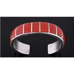 Signed Zuni Native American Red Coral Bracelet