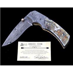 Navajo Yellowhorse Damascus Silver Eagle Knife