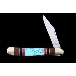 Navajo Turquoise & Coral Inlaid Buffalo Knife