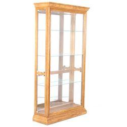Oak Glass Paneled & Mirror Curio Display Cabinet