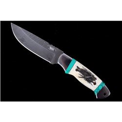 M.T. Knives Damascus & Turquoise Wolf Etched Knife