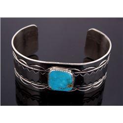 Silver Sleeping Beauty Turquoise Tooled Bracelet