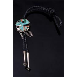 Navajo Kingman Turquoise Sterling Inlaid Bolo Tie