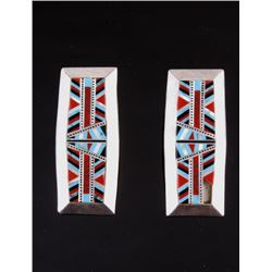 Zuni Sterling Turquoise Mosaic Inlay Earrings