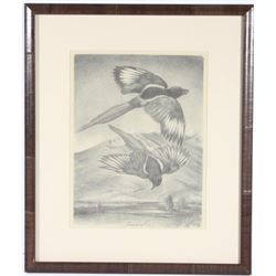 "Signed Original Joseph Imhof ""Two Magpies"" Art"