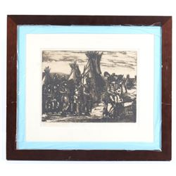 Red Man's West Framed Etching by Wolf Pogzeba
