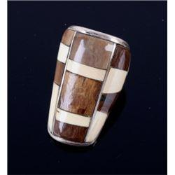 Zuni Sterling Silver & Mammoth Tusk Ivory Ring