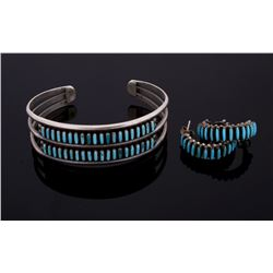 Zuni Sterling Micro Petite Point Turquoise Jewelry