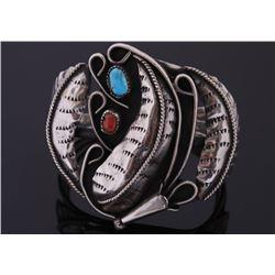 Navajo Floral Silver & Gemstone Bracelet