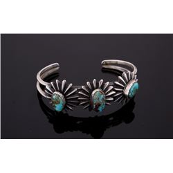 Silver Floral Bracelet w/ Red Mountain Turquoise