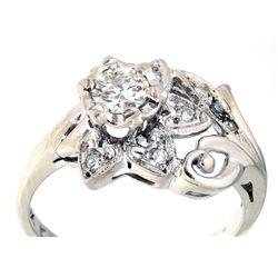 1920 Art Deco 14k Gold & Round Cut Diamond Ring