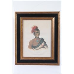 1841 Framed Pawnee Chief Lithograph By J. T. Bowen