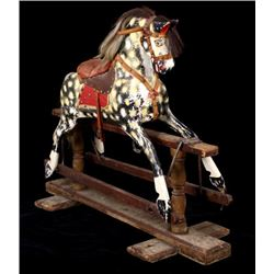 Early Hand Carved & Painted Child's Rocking Horse
