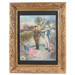 Framed WW1 Poster Pershing in France c. 1917