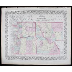 1870's Northwest Territory Hand Tinted Map