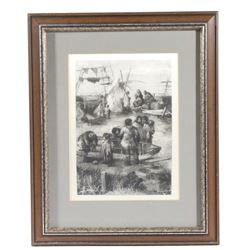 Original Signed Keller Eskimo Framed Etching