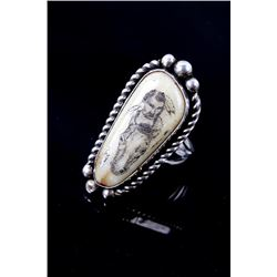 Navajo Signed Scrimshaw Agate & Sterling Ring