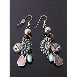 Zuni Petitie Point & Sun Face Inlay Charm Earrings