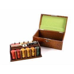 Gambler's Poker Set in Quarter Sawn Oak Box 1890-