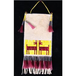 Plateau Indians Quilled & Beaded Flat Bag w/ Deer