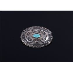 Signed Navajo Sterling Silver & Turquoise Brooch
